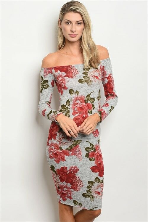Women Gray Floral Off Shoulder Body Con Stretch Slim Sweater Dress Casual Fall