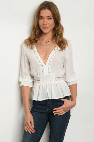 Women Baby Doll Empire Waist Off White Boho Plunge Neckline Top Blouse Casual