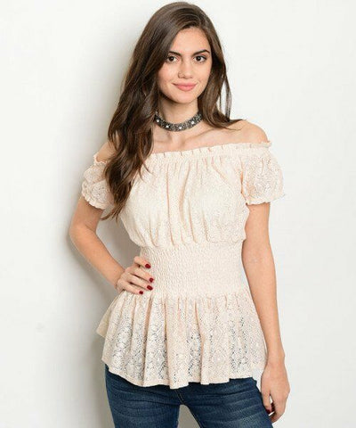 Blush Women Fashion Top Lace Up Corset Empire Waist Casual Blouse Off Shoulder