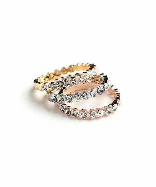 Fashion Women Jewelry Tri-Color Triple Layer Eternity Band Rose Gold Silver