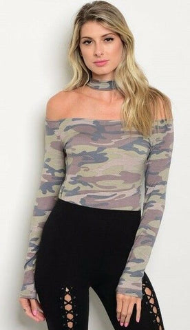 Women Camo Green Mock Neck Off Shoulder Slim Stretch Bodysuit Top Blouse Casual