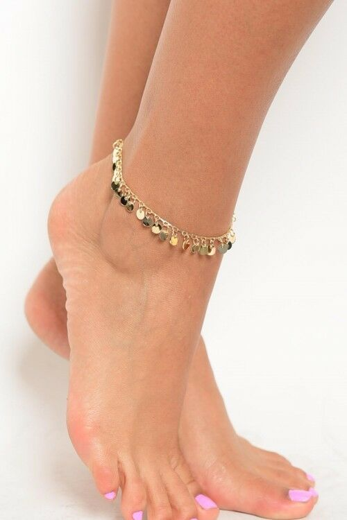 Women Fashion Jewelry Gold Silver Tone Anklet Pom Pom Charms Boho Summer Resort