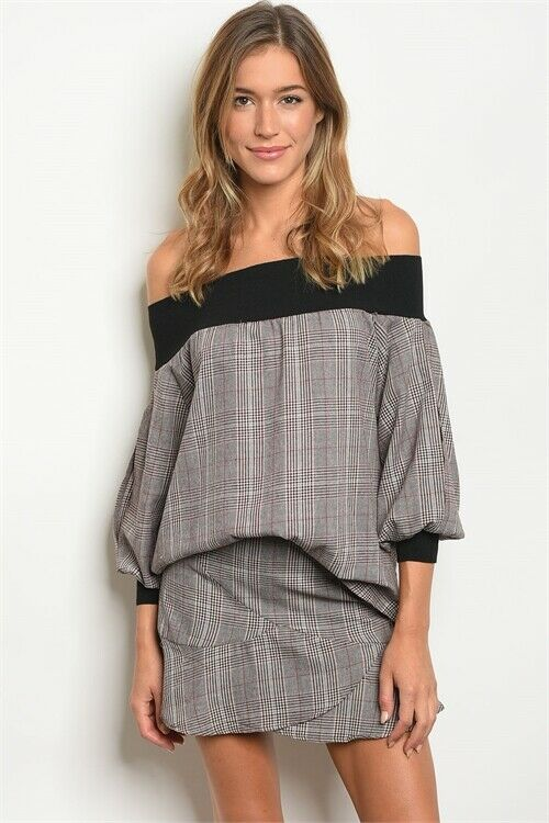 Women Off Shoulder Checked Plaid Top Blouse Skirt Bottom Set Casual Relaxed Ruff