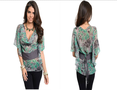 Kimono Blouse Women Blouse Top Obi Sash Casual Shirt Classy Tunic Relaxed Fit