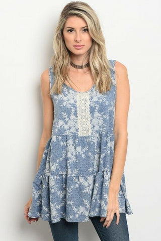 Women Boho Sleeveless Light Denim Print Relaxed Fit Tunic Top Blouse Casual Cute