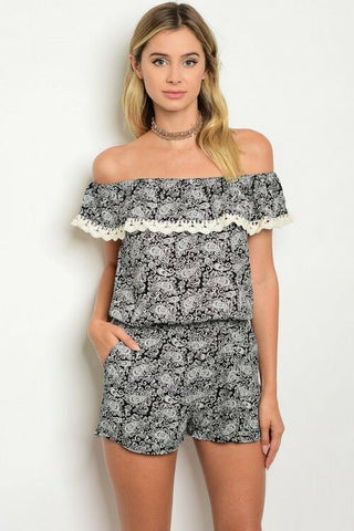 Off Shoulder Casual Summer Women Romper Jumper Playsuit Relaxed Crochet Black