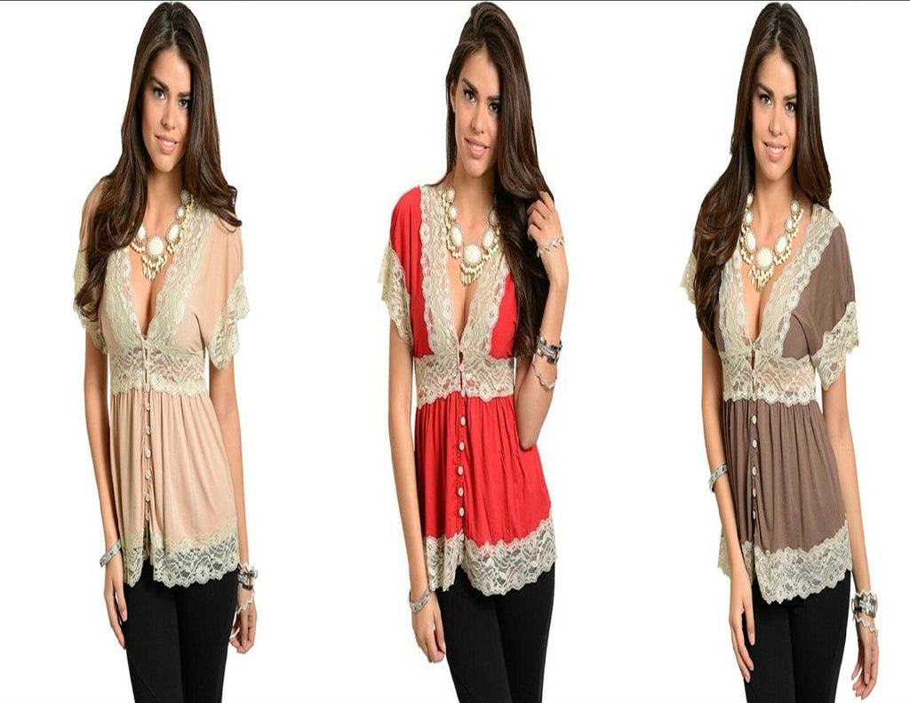 Women Clearance Kimono Blouse Top Shirt Tunic Lace Empire Waist Casual Plunge