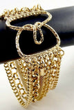 Women Vintage Jewelry Retro Gold Tone Multi Chain Bracelet Bangle Bling Casual
