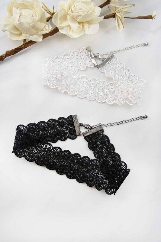 Women's Fashion Jewelry Retro Vintage White Floral Cut Out Lace Choker Necklace