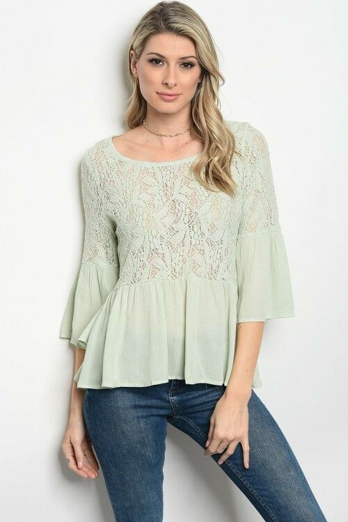 Women Sage Boho Lace Bell Sleeve Peplum Top Blouse Casual Relaxed Fit Summer