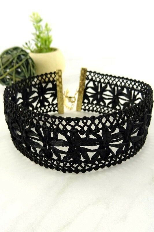 Women Fashion Jewelry Retro Vintage 90's Thick Black Floral Choker Casual Dressy
