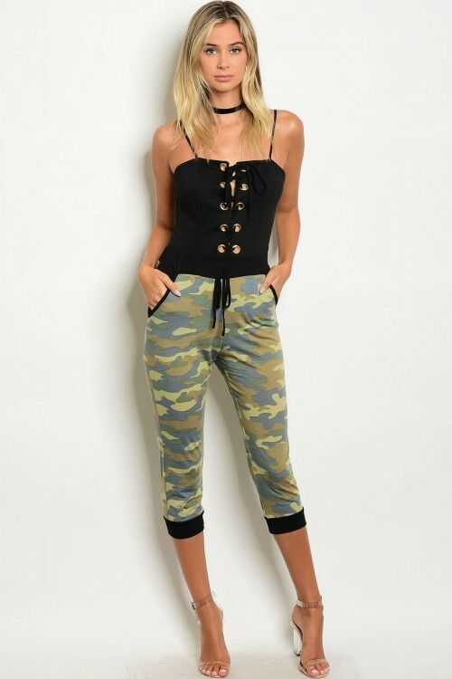 Women Army Camo Slim Fit Capri Jogger Hot Pants Trousers Yoga Stretch Fit Casual
