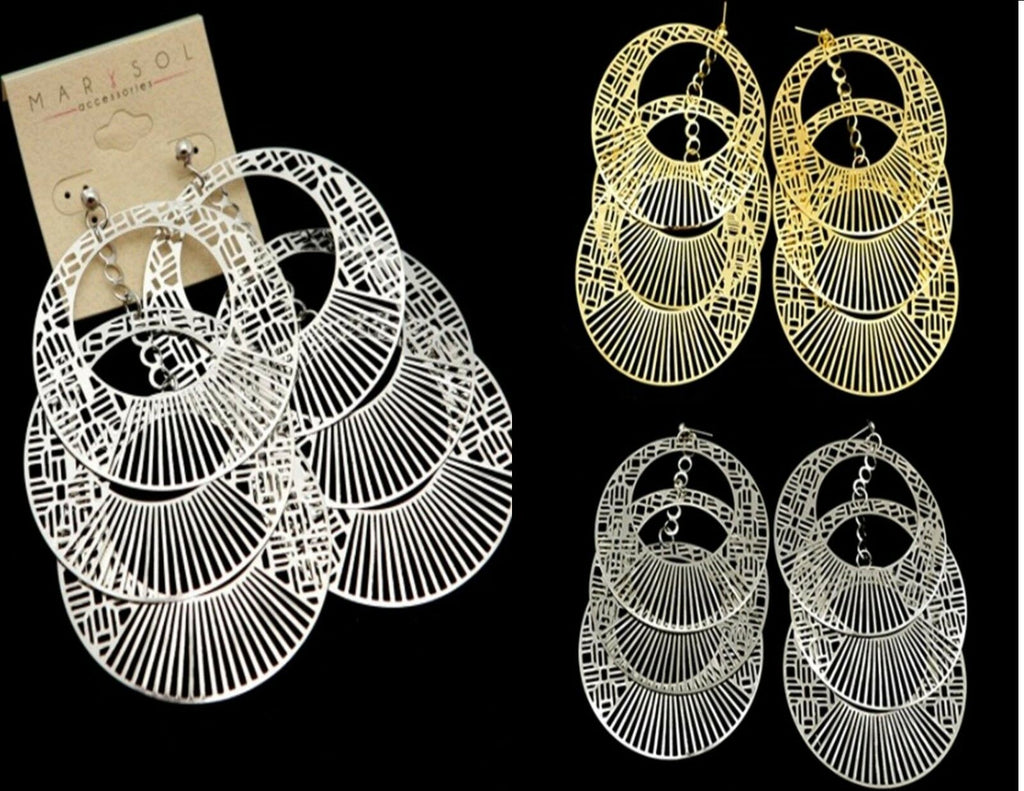 Fashion Women Jewelry Tiered Hoop Dangle Earrings Urban Street Style Clubwear