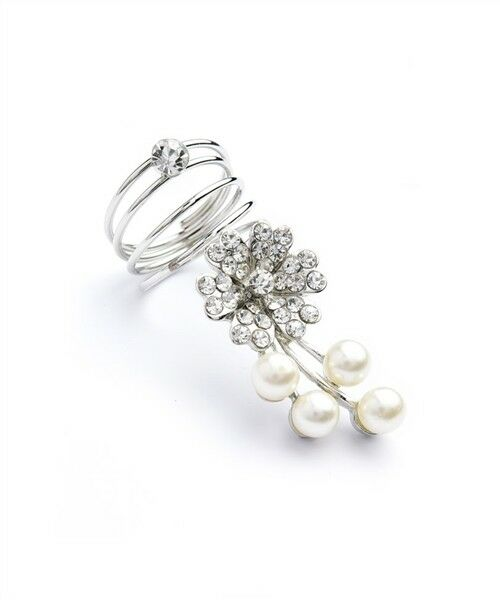 Women Fashion Jewelry Retro Multi Stone Pearl Flower Shape Coil Statement Ring