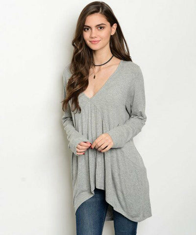 Plus Size Women Casual Fashion Gray V-Neck Tunic Relaxed Top Shirt Blouse Soft