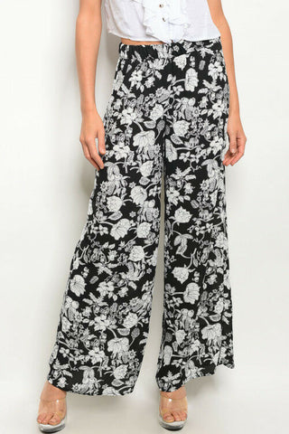 Women Black White Floral Relaxed Casual Palazzo Yoga Wide Leg Trouser Pants Cute