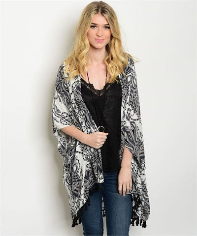 Women Off White Paisley Kimono Top Blouse Fringe Casual Shirt Sweater Cardigan