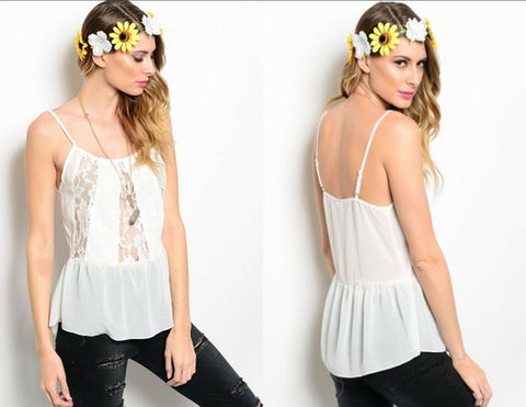 Off White Women Blouse Top Shirt Spaghetti Strap Lace Boho Casual Urban Relaxed