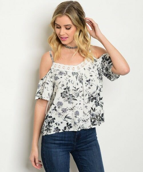 Women Off White Cold Shoulder Floral Lace Top Blouse Shirt Summer Casual Urban