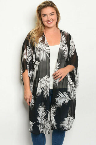 Women Plus Size Black Palm Kimono Top Blouse Shirt Jacket Relaxed Fit Casual