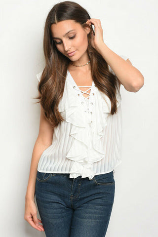Women Sleeveless Lace up Ruffle Casual Peasant Top Blouse Sheer White Stripe