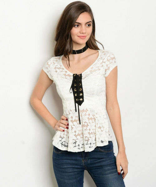 Lace Up Style Women Top White Lace Shirt Blouse Vest Slim Fit Casual Sheer Sexy