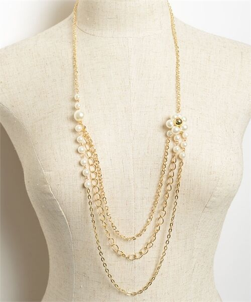 Women Jewelry Fashion Necklace Sweater Chain Vintage Retro Pearl Casual Layered