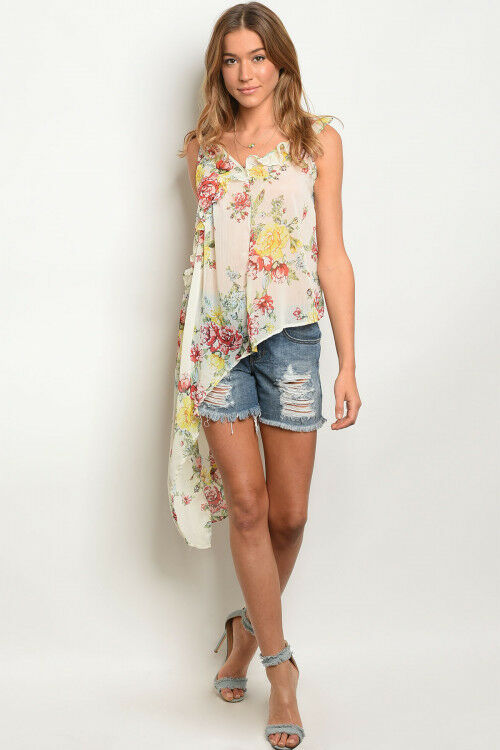 Women Asymmetrical Floral Spaghetti Strap Tunic Tank Top Blouse Relaxed Casual