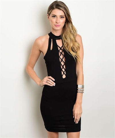 Black Body Con Sleeveless Mock Neck Lace Up Casual Dress Women Fashion Slim