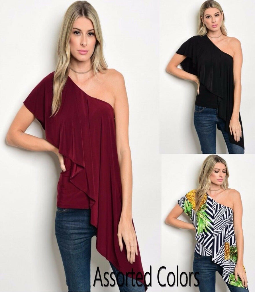 Women Stretch One Shoulder Ruffle Top Blouse Shirt Casual Fall Assorted Slim Fit