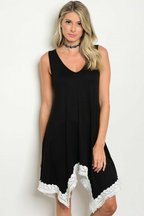 Women's Black Sleeveless Relaxed Shirt Dress V-Neck Lace Trim Casual