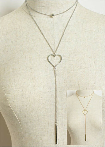 Women Fashion Jewelry Vintage Retro Layered Heart Plunge Chain Lariat Necklace