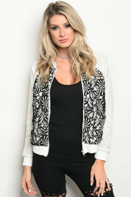 Women White Black Crochet Bomber Jacket Cardigan Sweater Casual Chic Style Fall