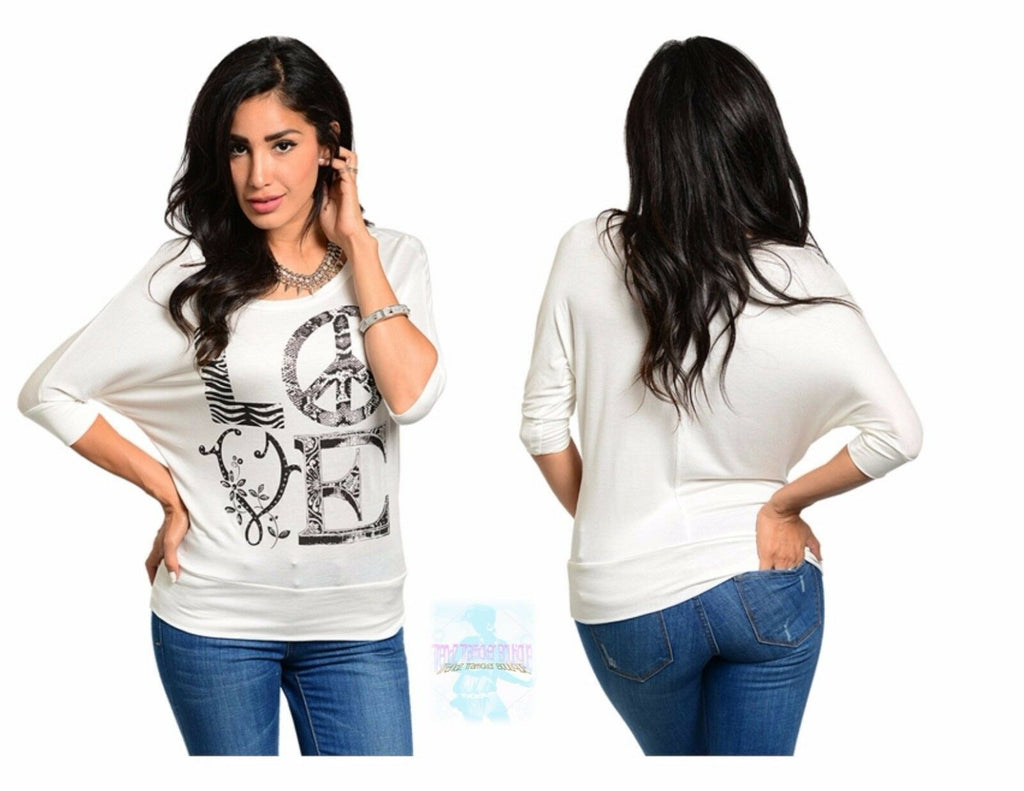 Women Knit Dolman Top Blouse Shirt 3/4 Sleeve Ivory Casual Yoga Fashion Cute