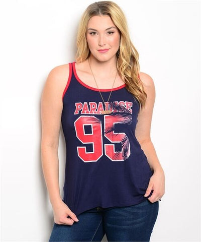 Plus Size Women Sleeveless Graphic Tee Blouse Shirt Casual Urban Slim Style Cute