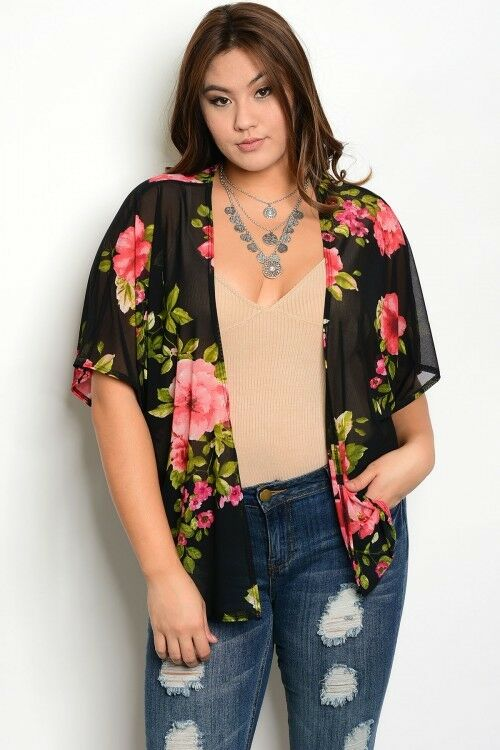 Women Sheer Plus Size Black Floral Kimono Top Blouse Layer Relaxed Fit Fall