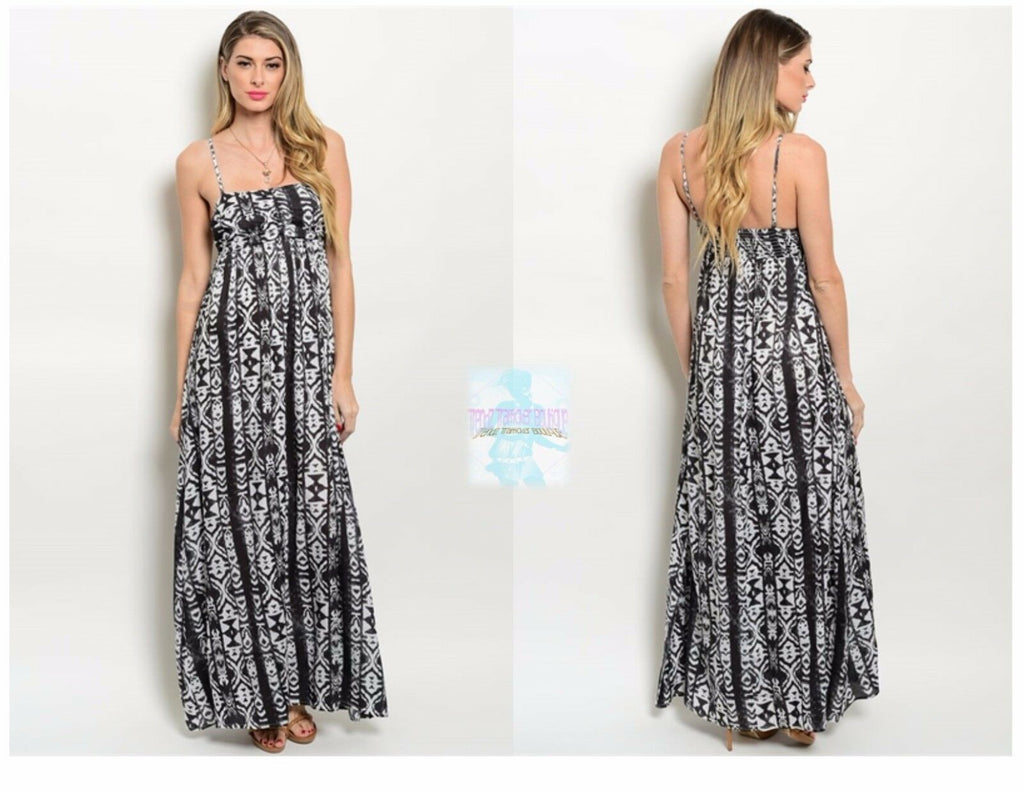 Fashion Women Casual Tribal Empire Waist Maxi Dress Spaghetti Strap Floor Length