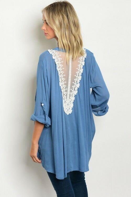 Women Blue Top Blouse Button Shirt Mesh Crochet Back Relaxed Fit Casual Fall