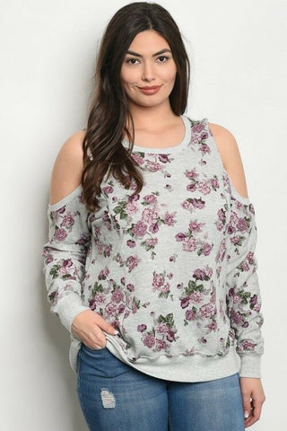 Plus Size Women Floral Gray Cold Shoulder Top Blouse Shirt Casual Spring Relaxed