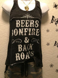 Women Racerback Graphic Tank Top Blouse Athletic Casual Beers Bonfires Relaxed