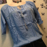 Plus Size Women Powder Blue Peasant Top Blouse Lace Relaxed Tassels Casual