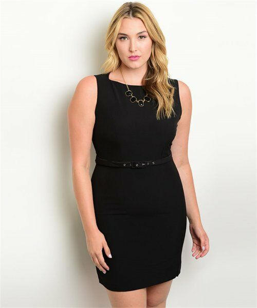 Plus Size Women Stretch Black Dress Sleeveless Casual Slim Tailored Belt Mini