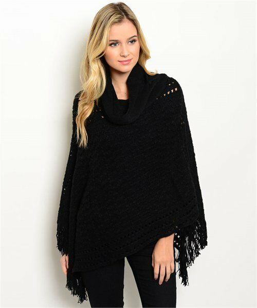 Women Poncho Black Soft Fringe Shawl Vest Sweater Wrap Cowl Neck Casual Fall