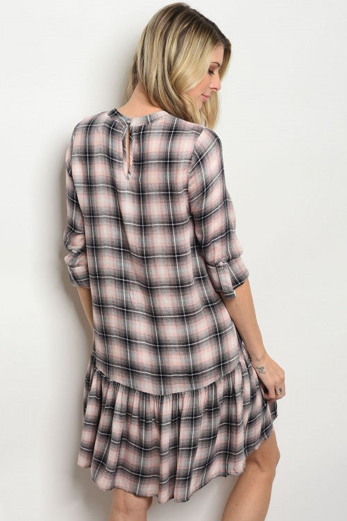 Women Pink Check Plaid Grunge Casual Relaxed Fit Shirt Dress Tunic Spring Keyhole