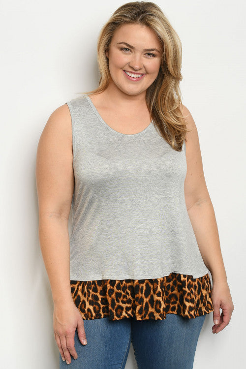Women Plus Size Sleeveless Tee Top Blouse Shirt Gray Leopard Cute Casual Relaxed
