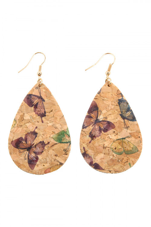 Women Fashion Butterfly Printed Teardrop Cork Earrings Spring Casual Fun Assorted