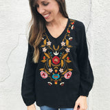 Black Linen Embroidery Top - Aunt Lillie Bells