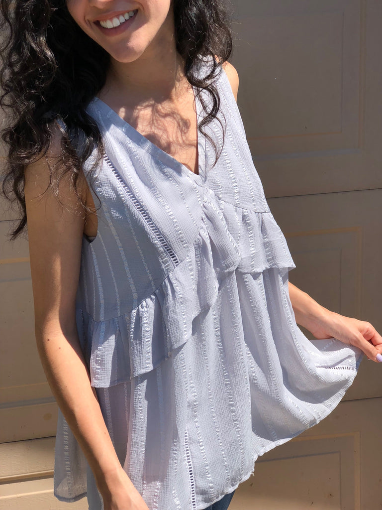 Grey Ruffle Trapeze Top - Aunt Lillie Bells
