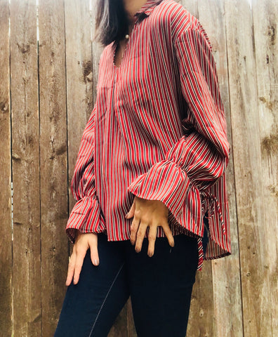 Brick Striped Top with Sleeve Tie - Aunt Lillie Bells