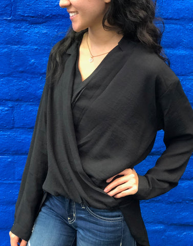 Black Twist Front Top - Aunt Lillie Bells